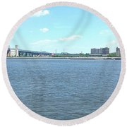 The Bridge And The River Round Beach Towel