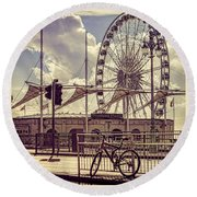 Round Beach Towel featuring the photograph The Brighton Wheel by Chris Lord