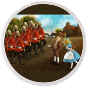 The British Soldiers Round Beach Towel by Reynold Jay