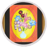 Round Beach Towel featuring the painting The Bud Vase by Ron Davidson