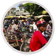 Round Beach Towel featuring the photograph The Bustling Traffic On 27th Street Zay Cho Street Market Mandalay Burma by Ralph A  Ledergerber-Photography