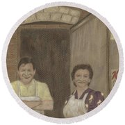 The Butcher And His Wife  Round Beach Towel