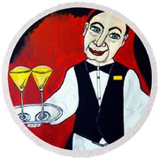 Round Beach Towel featuring the painting The Butler  by Nora Shepley