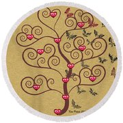 the Butterly heart Tree Round Beach Towel