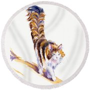 The Calico Cat That Walked By Himself Round Beach Towel