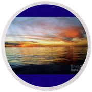 Round Beach Towel featuring the photograph Gulf Of Mexico The Calm Before Hurricane Katrina Off The Coast Of Louisiana by Michael Hoard