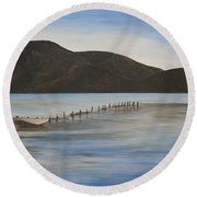 Round Beach Towel featuring the painting The Calm Water Of Akyaka by Tracey Harrington-Simpson