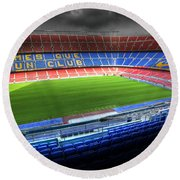 The Camp Nou Stadium In Barcelona Round Beach Towel