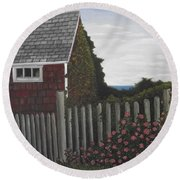 The Captain's Widow's House Round Beach Towel