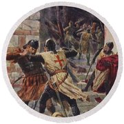 The Capture Of Constantinople Round Beach Towel
