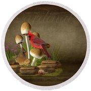 The Cardinal Round Beach Towel by Davandra Cribbie