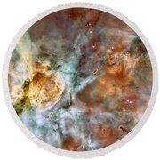 The Carina Nebula Round Beach Towel
