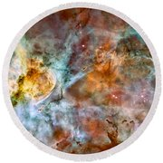 The Carina Nebula - Star Birth In The Extreme Round Beach Towel by Marco Oliveira