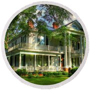 A Southern Bell The Carlton Home Art Southern Antebellum Art Round Beach Towel by Reid Callaway