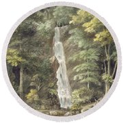 The Cascade Waterfall At Hestercombe Round Beach Towel