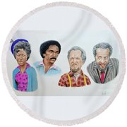 The Cast Of Sanford And Son  Round Beach Towel by Jim Fitzpatrick