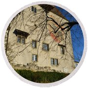 Round Beach Towel featuring the photograph The Castle Greets A Sunny Day by Felicia Tica