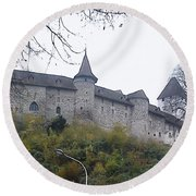Round Beach Towel featuring the photograph The Castle In Autumn by Felicia Tica