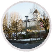 Round Beach Towel featuring the photograph The Castle In Winter Light by Felicia Tica