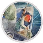 The Catch Round Beach Towel by Marilyn Jacobson