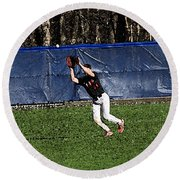 The Catch With Watercolor Effect Round Beach Towel by Frank Romeo