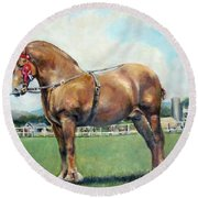 Round Beach Towel featuring the painting The Champ by Donna Tucker