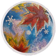 Round Beach Towel featuring the painting The Change by Margaret Bobb