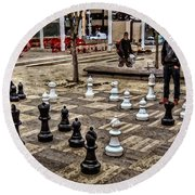 The Chess Match In Pdx Round Beach Towel