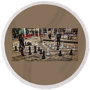 The Chess Match In Portland Round Beach Towel