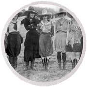 The Cheyenne Rodeo Roundup Cowgirls Round Beach Towel