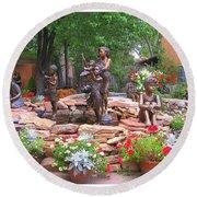 The Children Sculpture Garden - Santa Fe Round Beach Towel by Dora Sofia Caputo Photographic Art and Design