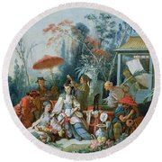 The Chinese Garden, C.1742 Oil On Canvas Round Beach Towel