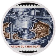 The Chocolate Factory Vintage Postage Stamp Round Beach Towel
