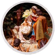The Christmas Creche At Holy Name Cathedral - Chicago Round Beach Towel