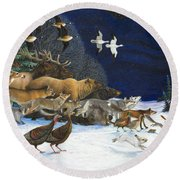The Christmas Star Round Beach Towel