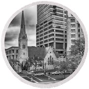 Round Beach Towel featuring the photograph The Church by Howard Salmon