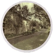 The Church Lane Round Beach Towel by Elaine Teague