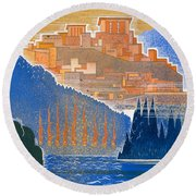 The City Of Troy From The Sea Round Beach Towel