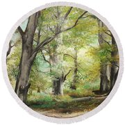 Round Beach Towel featuring the painting The Clearing by Sorin Apostolescu