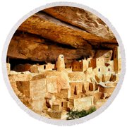 The Cliff Palace At Mesa Verde Round Beach Towel