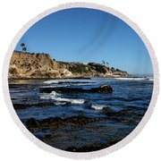 The Cliffs Of Pismo Beach Round Beach Towel by Judy Vincent
