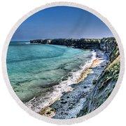 The Cliffs Of Pointe Du Hoc Round Beach Towel
