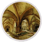 The Cloisters Of St. Wandrille, C.1825-30 Oil On Canvas Round Beach Towel