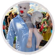 Round Beach Towel featuring the photograph The Clown by Ed Weidman