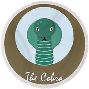 The Cobra Cute Portrait Round Beach Towel by Florian Rodarte