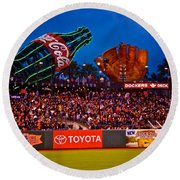 The Coke And Glove Round Beach Towel by Eric Tressler