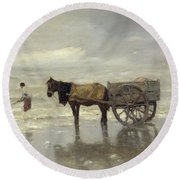 The Collection At Goemon Oil On Canvas Round Beach Towel