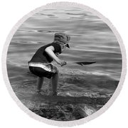 Round Beach Towel featuring the photograph  The Collector by Debbie Oppermann