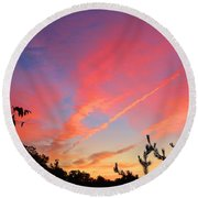 Round Beach Towel featuring the photograph The Color Gets Good by Kathryn Meyer