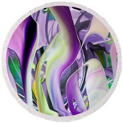 The Color Of Iris - Digital Abstract Art Round Beach Towel by rd Erickson
